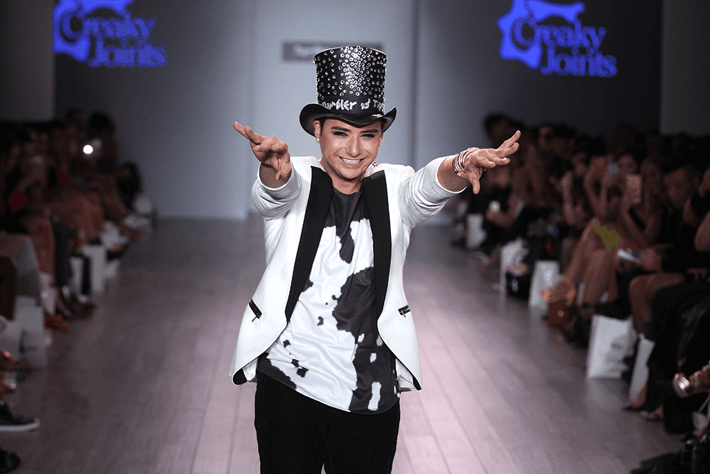 Designer Michael Kuluva at Creaky & Tipsy at New York Fashion Week