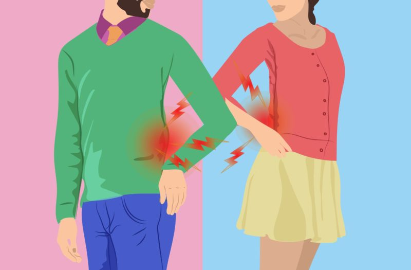 cartoon shows a man and an woman experiencing pain in the lower back
