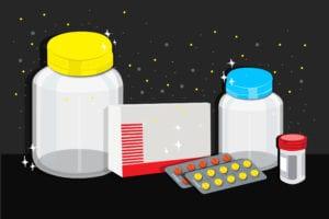 cartoon shows pills and bottles