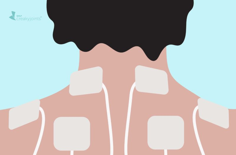 cartoon of TENs patches attached to shoulders and neck