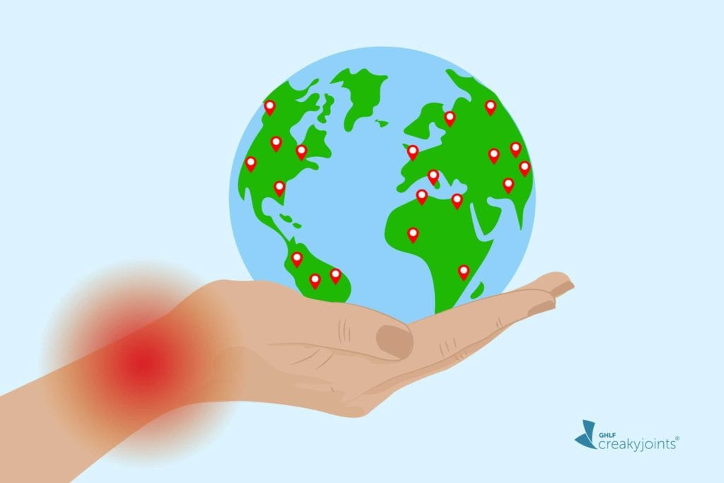 Image shows cartoon hand with joint pain holding the globe