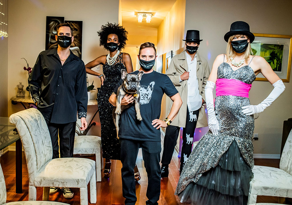 Fashion models standing in a room with cloth masks
