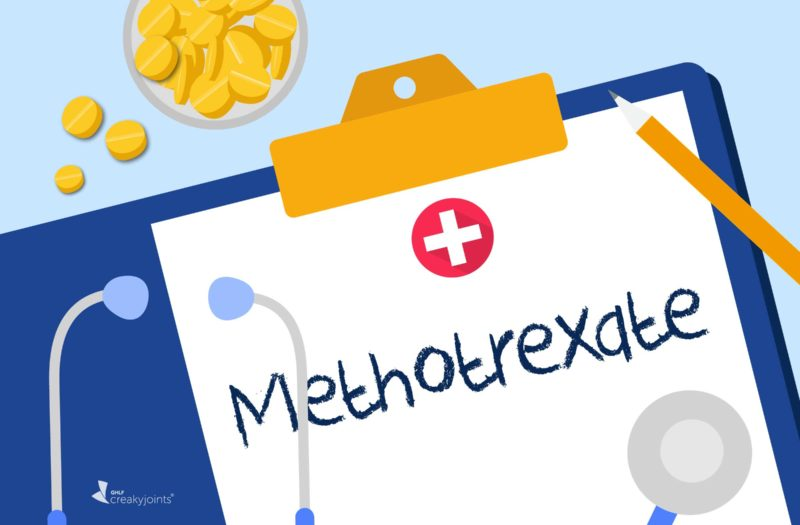 Image shows the word Methotrexate written on a clipboard with pills and a stethoscope