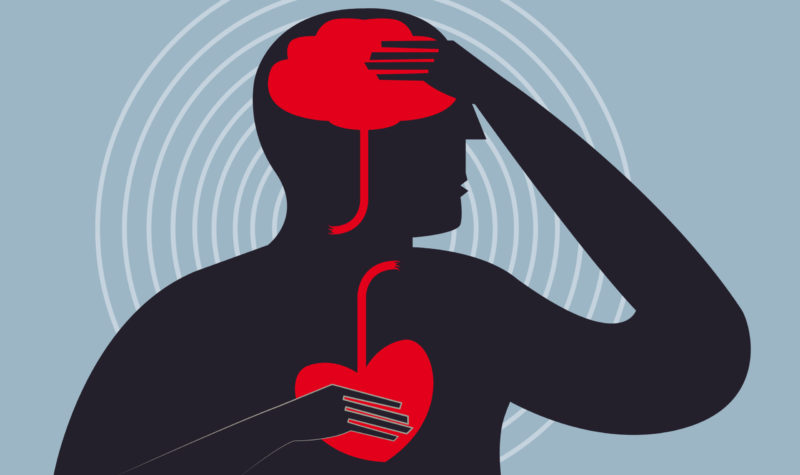 Illustration of a person suffering from a stroke and heart issues, as indicated by red, inflamed brain and heart