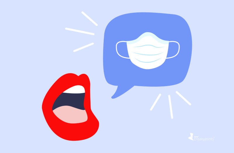 An illustration of a mouth. Near the mouth is a talk bubble with a mask drawn in it to represent someone talking about masks.