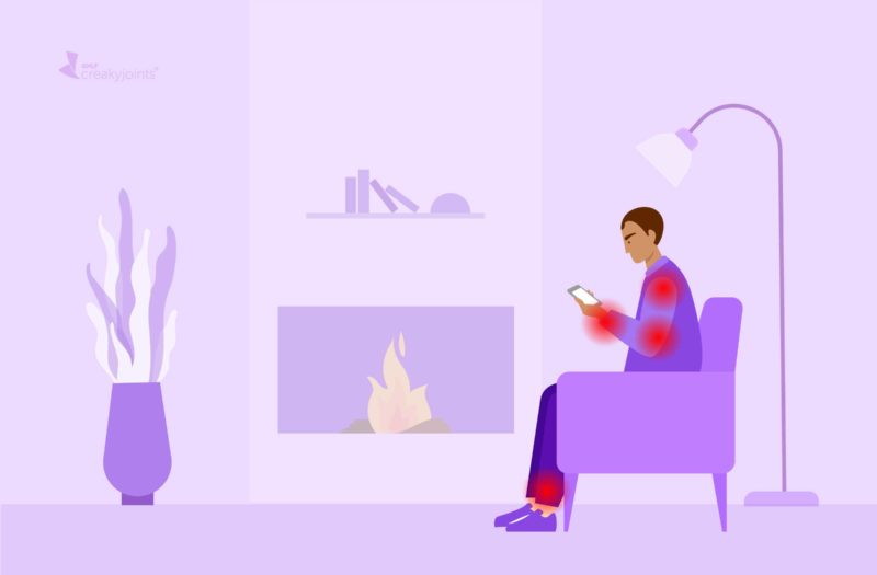 An illustration of a man with rheumatoid arthritis, as evident by red pain spots on his arms and legs. the man is sitting in a purple chair in a living room, hunched over and texting on his phone.