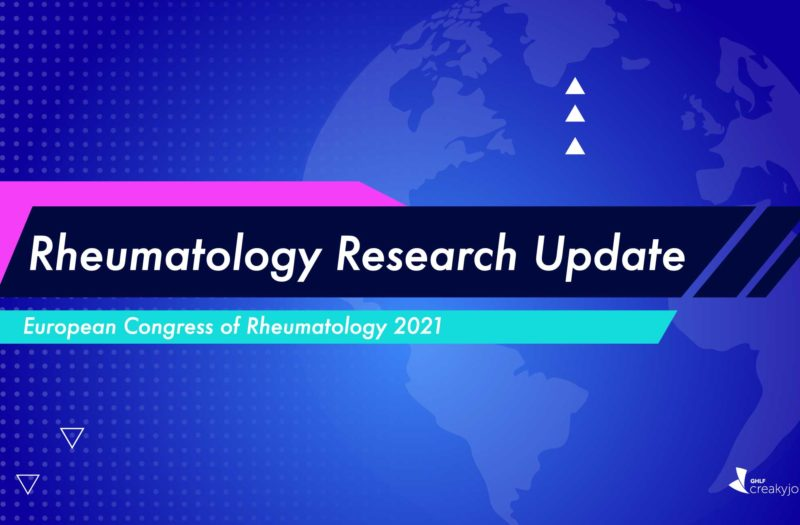 """A blue and purple background. On top of that is a black box with with text that reads """"Rheumatology Research Update."""" Beneath that is a teal box with white text that reads """"European Congress of Rheumatology 2021."""""""