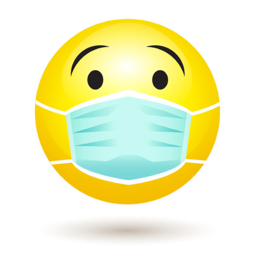 An image of mile emoji wearing a protective surgical mask in response to the coronavirus outbreak. Infected patient wears medical face mask to prevent spread of illness.