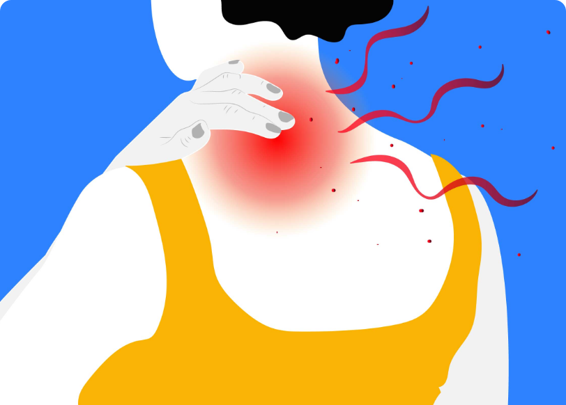 Illustration of person rubbing their neck which is red with pain