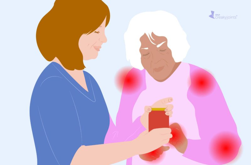 An illustration of an occupational therapist (a woman wearing blue scrubs) teaching a person with psoriatic arthritis (as indicated by red pain spots on their hand and arm) how to better open a jar.