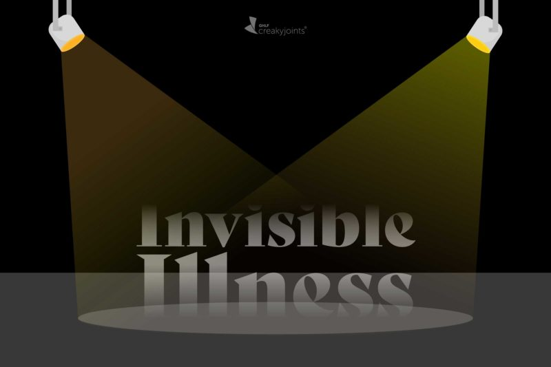 """An illustration of the words """"Invisible Illness"""" set on a stage of sorts and under a spotlight. The words """"Invisible Illness"""" are slightly faded, to represent the invisibility."""