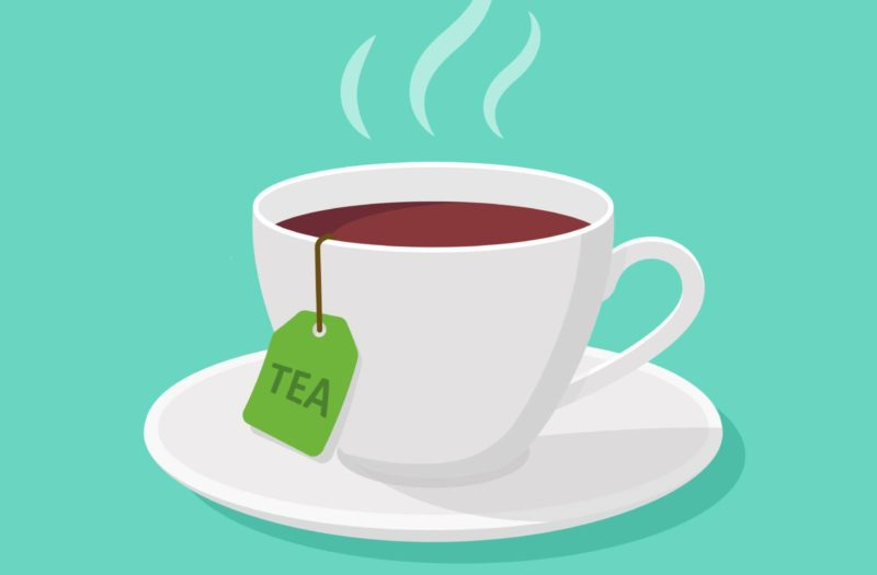 An illustration of a white cup of tea sitting on a teal background.