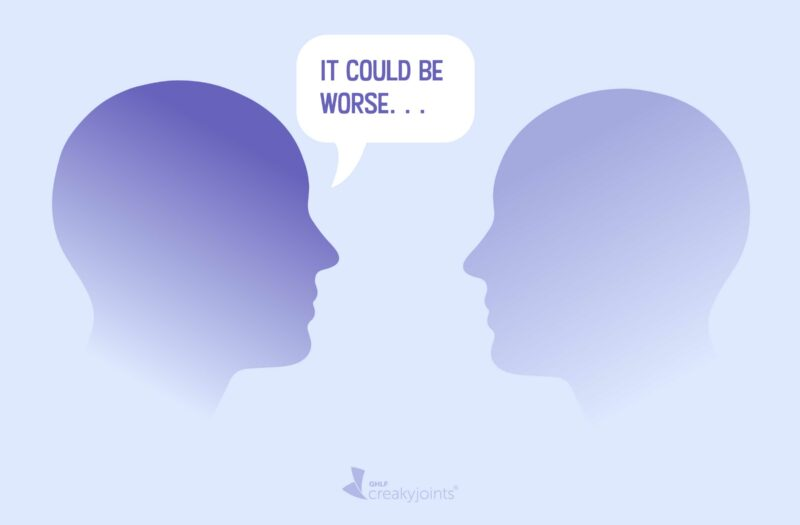 An image of two heads facing each other as if they are in conversation? From one of the heads, there's a conversation bubble with the inside reading: It could be worse. . .
