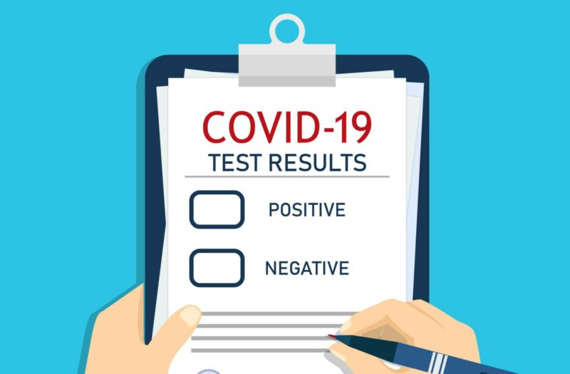 Form of covid report. Medical checklist with laboratory clinical result of coronavirus after test.
