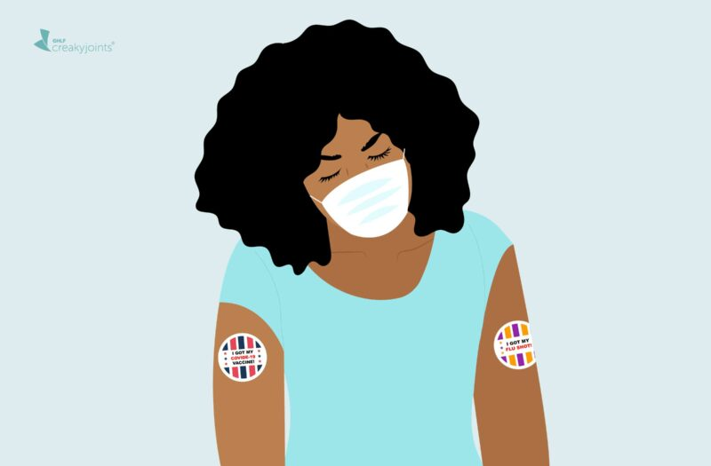 """An illustration of a person wearing a mask with two stickers on their arms. On the left is a sticker that says """"I got my COVID-19 vaccine."""" On the right is a sticker that says """"I got my flu shot."""""""
